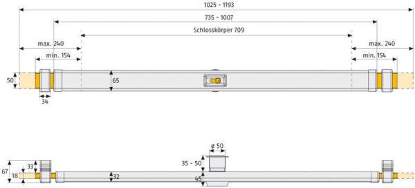 ABUS Panzerriegel PR2700 PR2600 Maße