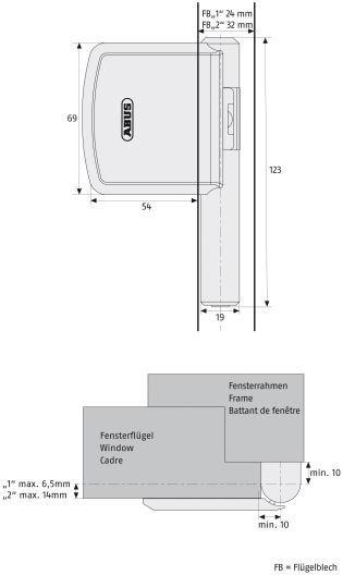 ABUS Scharnierseitensicherung FAS101 Maße