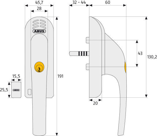 ABUS FG300A Abschließbarer Fenstergriff Maße