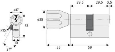 Maße ABUS Profilzylinder K82