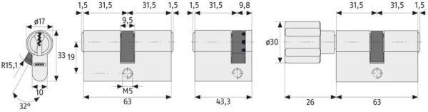 ABUS XP10 Profilzylinder Maße