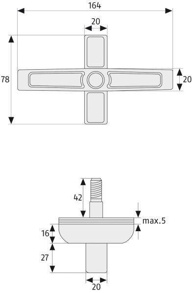 ABUS 2520 Doppelflügel-Fenstersicherung Maße