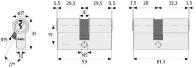 ABUS C73 Profilzylinder Maße