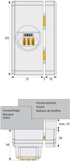 ABUS FTS 106 Fenster-Zusatzschloss Maße