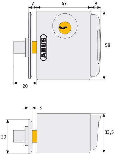 ABUS FTS3002 Fenster-Zusatzschloss Maße