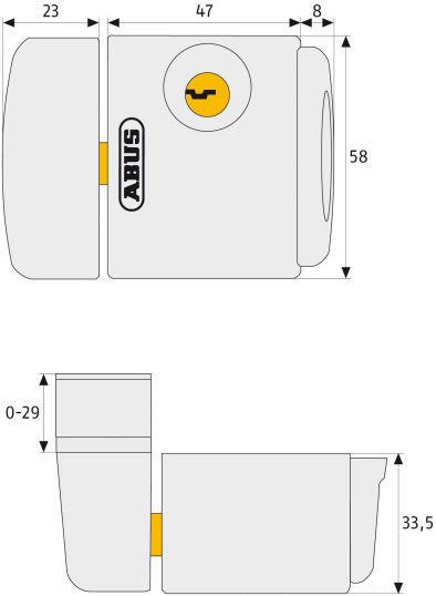 ABUS FTS3003 Fenster-Zusatzschloss Maße