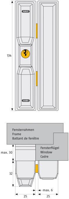 ABUS FTS 88 Fenster-Zusatzschloss Maße