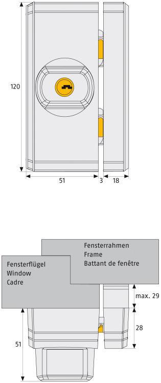 ABUS FTS96 Fenster-Zusatzschloss Maße