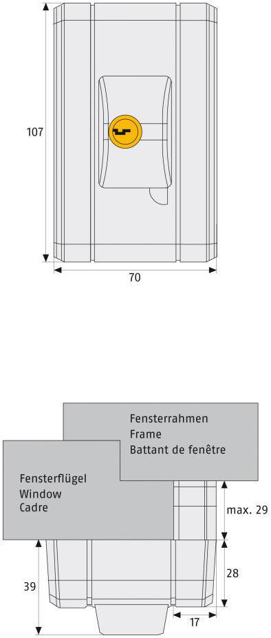 ABUS automatisches Fenster-Zusatzschloss fts99 Maße