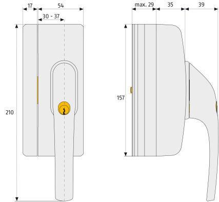 ABUS FO400n Stabieles-Fenster-Zusatzschloss Maße
