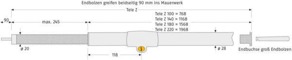 ABUS Tele-Z Teleskopstange Maße