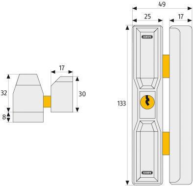 ABUS DF88 Dachfenstersicherung Maße