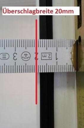 Überschlagbreite 20mm Aufmaß Pilzkopfverriegelung nachrüsten