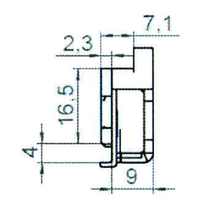 Sicherheitsschließblech SBS.K.9-102 PVC Profile Nutmittenlage 9 mm