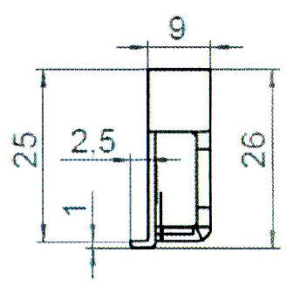 Sicherheitsschließblech SBS.K.9-B PVC Profile Nutmittenlage 9 mm