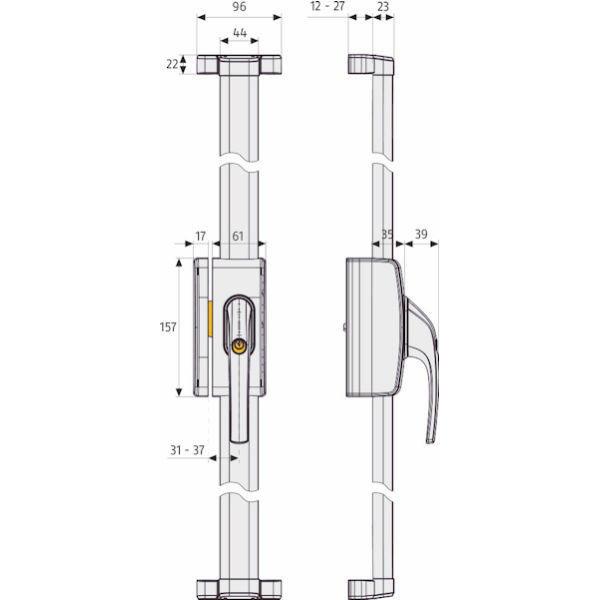 ABUS FOS 650 Fenster-Stangenschloss Maße