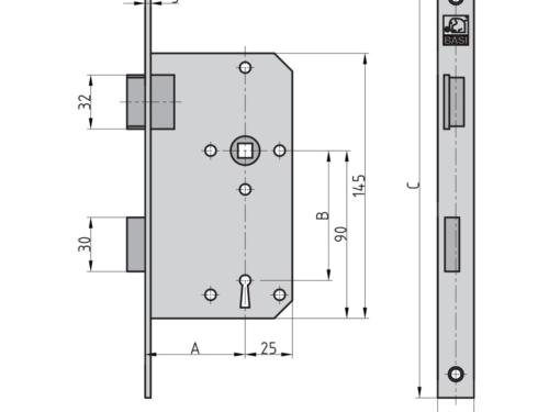 BASI ES 921 Einsteckschloss Zimmertür BB Buntbart Maße