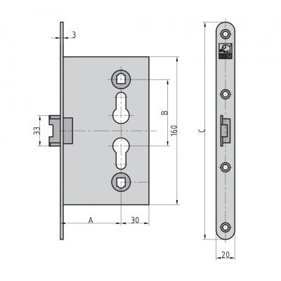 BASI ES 983 Sicken-Türschloss für z.B. Garagennebeneingangstür PZW Maße