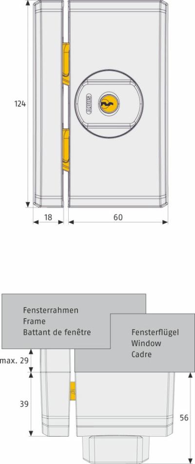 ABUS FTS96A Fenster-Zusatzschloss mit Alarm