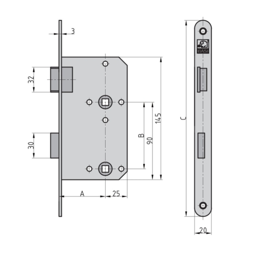 BASI ES 935 Einsteckschloss WC Maße