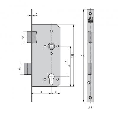 BASI ES 978 Einsteckschloss für Profilzylinder Haustür kantig Maße