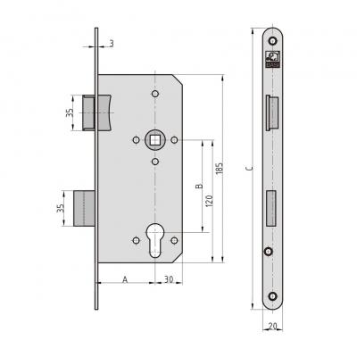 BASI ES 978 Einsteckschloss für Profilzylinder Haustür rund Maße