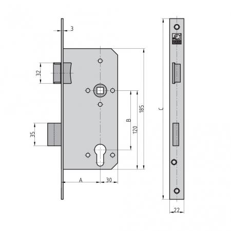 BASI ES 979 Einsteckschloss für Profilzylinder Haustür kantig Maße